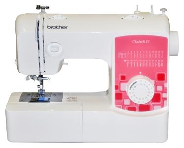 Швейная машина Brother ModerN27Швейные машины<br>Brother Modern 27 – это простая в управлении швейная машина, которая сочетает в себе много полезных опций. Многообразие строчек &amp;#40;фестоны, оверлочные стежки, штопка и т.п.&amp;#41;, общим количеством 25 шт., позволит портнихе создать эксклюзивную авторскую работу, а также просто подшить или отремонтировать тканое изделие. При необходимости сделать традиционную бельевую петлю на одежде, с ее помощью пользователь может это с легкостью осуществить &amp;#40;за 4 поворота ткани&amp;#41;.<br><br>Компактная швейная машина Modern 27 престижной японской марки Brother имеет стандартное поле...<br>