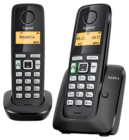 Радиотелефон Gigaset A220A DUOРадиотелефон Dect<br>Хорошо, когда есть Gigaset a220a duo!<br> <br> <br>  <br> <br> <br>Хорошо, когда дома есть хороший радиотелефон! А еще лучше, когда их два! Вы тоже так считаете? Тогда вам определенно понравится радиотелефон Gigaset a220a duo, ведь в комплекте вы найдете целых две трубки &amp;mdash; трубку-базу и дополнительную трубку! Оба телефона отличаются исключительной надежностью и непревзойденным фирменным качеством Gigaset. Теперь вы всегда сможете общаться с коллегами и друзьями с максимальным комфортом!<br> <br> <br>  <br> <br> <br>Запись разговора, цифровой автоответчик, 10 полифонических мелодий, встроенная телефонная...<br><br>Тип: Радиотелефон<br>Количество трубок: 2<br>Рабочая частота: 1880-1900 МГц<br>Стандарт: DECT/GAP<br>Радиус действия в помещении / на открытой местност: 50/300<br>Возможность набора на базе: Нет<br>Проводная трубка на базе : Нет<br>Время работы трубки (режим разг. / режим ожид.): 18 / 200 ч<br>Полифонические мелодии: 10<br>Дисплей: на трубке (монохромный с подсветкой), 1 строка
