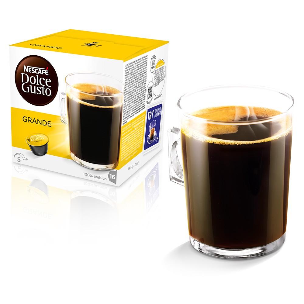 Кофе в капсулах Nescafe Dolce Gusto GrandeКофе, какао<br>Начните свой день с большой чашки кофе в капсулах Grande!<br>Grande - черный кофе для завтрака, дарящий заряд бодрости на весь день! По сравнению с классическим кофе Американо, Grande обладает более насыщенным вкусом.&amp;nbsp;&amp;nbsp;100% Арабика средней обжарки раскрывается под профессиональным давлением кофе-машин NESCAFE ® Dolce Gusto ®, чтобы Вы могли наслаждаться идеальным вкусом в каждой чашке. С молоком или без молока, кофе Grande лучше пить из большой чашки для утреннего кофе.<br><br>Тип: кофе в капсулах<br>Дополнительно: 16 капсул с кофе. Кофе натуральный жареный молотый