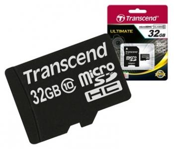 Карта памяти  MicroSD(TransFlash) 32Gb Transcend HC Class10 + переходник SD / TS32GUSDHC10Карты памяти<br><br><br>Тип: Карта памяти<br>Тип карты памяти: MicroSD(TransFlash)<br>Объем памяти: 32 Гб<br>Класс скорости: Class10