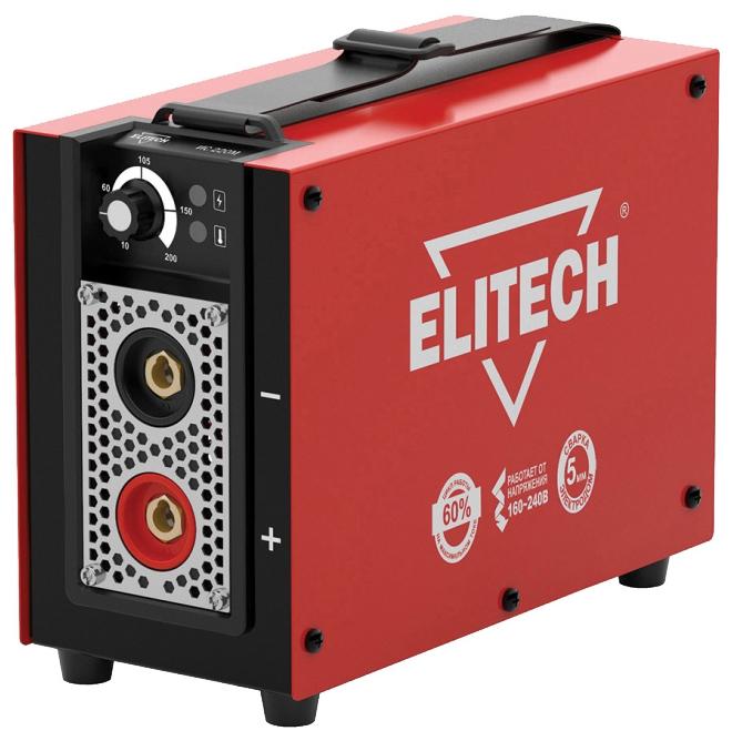 Сварочный аппарат Elitech ИС 220МСварочные аппараты<br><br><br>Тип: сварочный инвертор<br>Сварочный ток (MMA): 10-200 А<br>Напряжение на входе: 154-253 В<br>Количество фаз питания: 1<br>Напряжение холостого хода: 85 В<br>Тип выходного тока: постоянный<br>Мощность, кВт: 4.60<br>Продолжительность включения при максимальном токе: 60 %<br>Диаметр электрода: 1.60-5 мм<br>Класс изоляции: H