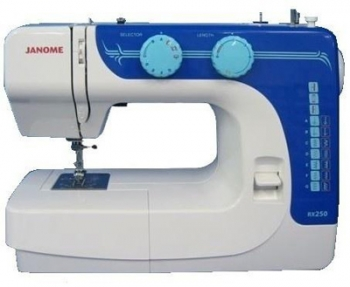 Швейная машина Janome RX-250Швейные машины<br>Janome rx 250 &amp;mdash; ваш персональный помощник.<br> Швейная машина Janome rx 250 великолепно и ответственно справится с любой работой, которую вы ей поручите. Подшить одежду или даже сшить новое платье? Легко! Эта машинка знает все о швейном мастерстве! Управлять ей не только очень просто, но еще и очень удобно. Мягкий плавный ход, регулировка скорости с помощью ножной педали, полуавтоматическое выполнение петли — в модели rx 250 есть все, чтобы вы могли шить в превосходном настроении!<br><br><br><br> Вы уже решили купить эту машину? В таком случае, вы делаете правильный выбор,...<br><br>Тип: электромеханическая<br>Тип челнока: качающийся<br>Количество швейных операций: 12<br>Выполнение петли: полуавтомат<br>Максимальная длина стежка: 4 мм<br>Максимальная ширина стежка: 5.0 мм<br>Эластичная строчка : есть<br>Кнопка реверса: есть<br>Регулировка скорости шитья: плавная<br>Коленный рычаг подъема лапки: есть
