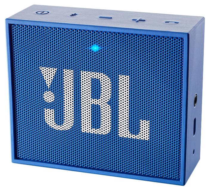 Акустическая система JBL Go BlueАкустические системы<br><br><br>Тип: Беспроводные колонки<br>Состав комплекта: портативное аудио<br>Количество полос: 1<br>Мощность, Вт: 3 Вт<br>Диапазон воспроизводимых частот: 180 - 20000 Гц<br>Интерфейсы: линейный (разъем mini jack), Bluetooth