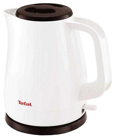 Электрочайник Tefal KO 150F Delfini PlusЧайники и термопоты<br>Электрический чайник Tefal KO150130 прост в управлении и долговечен в использовании. Изготовлен из высококачественных материалов, имеет внутренний индикатор воды и светоиндикатор включения, а фильтр препятствует попаданию накипи в воду. Мощность 2200 Вт позволит вскипятить 1,5 литра воды в считанные минуты. Беспроводное соединение позволяет вращать чайник на подставке на 360°.<br><br>Тип   : Электрочайник<br>Объем, л  : 1.5<br>Мощность, Вт  : 2400<br>Тип нагревательного элемента: Закрытая спираль<br>Материал корпуса  : пластик<br>Вращение на 360 градусов  : Есть<br>Индикация включения  : Есть<br>Индикатор уровня воды  : Нет<br>Блокировка включения без воды  : Есть<br>Фильтр  : Есть