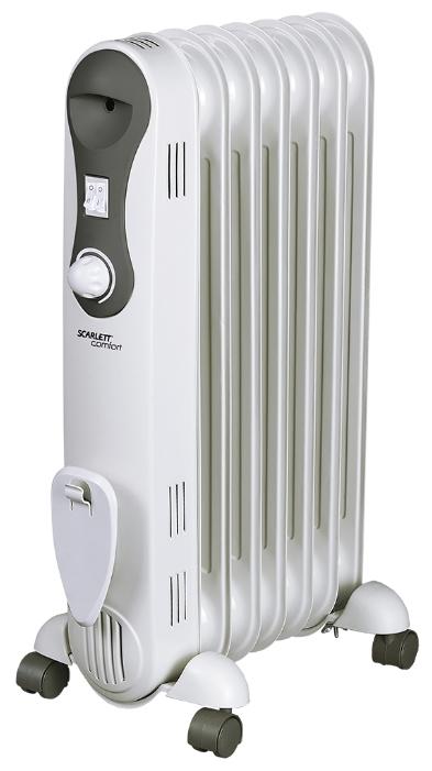 Масляный радиатор Scarlett SC 21.1507 S2Обогреватели<br><br><br>Тип: масляный радиатор<br>Максимальная мощность обогрева: 1500 Вт<br>Количество секций: 7<br>Каминный эффект : есть<br>Управление: механическое<br>Регулировка температуры: есть<br>Термостат: есть<br>Выключатель со световым индикатором: есть<br>Отделение для шнура : есть<br>Колеса для перемещения: есть