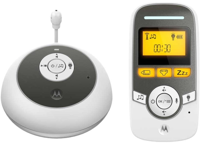 Радионяня Motorola MBP161 WhiteРадионяни<br>Цифровая DECT технология, 100% приватность и защита. Данная радионяня работает на DECT частоте 1.8GHz и совершенно не конфликтует с WiFi приборами<br><br>- DECT технология. <br>- ЖК дисплей<br>- Высокочувствительный микрофон, слушайте каждое движение и каждый звук изданный ребенком.<br>- Родительский блок с подставкой.<br>- Сигнализация о входящем сигнале, при установленной на минимум громкости. <br><br>Электропитание: <br>- родительский блок – аккумулятор емкостью 400мАч,<br>- детский блок - от сети.<br><br>- Двухсторонняя связь.<br>- Индикатор уровня шума. <br>- Ночник.<br>- 5 полифонических мелодий<br>- Регулятор...<br><br>Рабочая частота: 1,8 ГГц<br>Дальность (откр.пространство): 300<br>Тип исп. бат. (род.блок): аккумулятор емкостью 400мАч с подставкой крепления