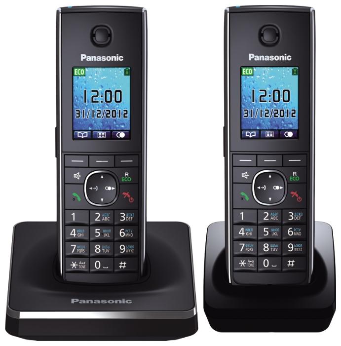 Радиотелефон Panasonic KX-TG8552RUBРадиотелефон Dect<br><br><br>Тип: Радиотелефон<br>Количество трубок: 2<br>Рабочая частота: 1880-1900 МГц<br>Стандарт: DECT/GAP<br>Радиус действия в помещении / на открытой местност: 50/300<br>Время работы трубки (режим разг. / режим ожид.): 12 / 250<br>Полифонические мелодии: 40<br>Дисплей: цветной на трубке<br>Подсветка кнопок на трубке: Есть<br>Журнал номеров: 50