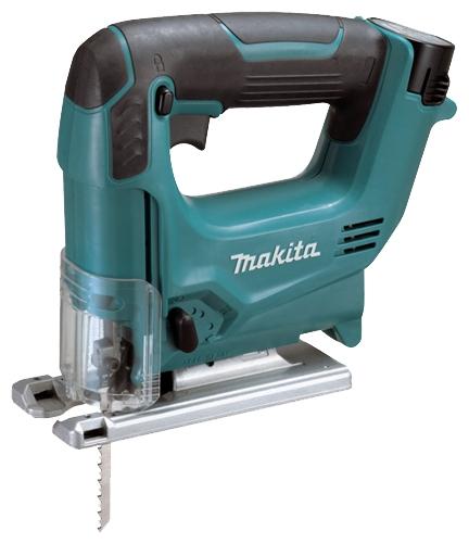 Лобзик Makita JV100DWEЛобзики электрические<br>- 3 режима маятникового хода<br>- Электрический тормоз<br>- Регулировка скорости<br><br>Частота движения пилки: 0 - 2400 ходов/мин<br>Длина хода: 18 мм<br>Глубина пропила дерева: 65 мм<br>Глубина пропила алюминия: 4 мм<br>Глубина пропила стали: 2 мм<br>Рукоятка: скобовидная, обрезиненная<br>Работа от аккумулятора: есть