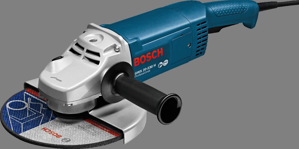 Угловая шлифмашина Bosch GWS 20-230 H [0601850107]Шлифовальные и заточные машины<br>- Быстрозажимная гайка SDS Bosch &amp;#40;предлагается в качестве принадлежности&amp;#41;<br>- Уникальная кодировка для простой идентификации инструментов<br><br>Описание: обдирочные и отрезные круги(диаметр) 230 мм, резиновая шлифовальная тарелка(диаметр) 230 мм, чашечные щетки(диаметр) 100 мм, чашечные шлифовальные круги(диаметр) 110 мм. Для кругов от 180 мм, с поворотной рукояткой-скобой, оснащенной устройством защитной блокировки, быстрая перестановка защитного кожуха, крепление защитного кожуха с предохранительной прорезью и кодировкой, плоская головка редуктора, бронированная обмотка.