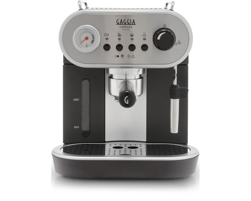 Кофемашина Gaggia Carezza DeLuxeКофеварки и кофемашины<br>Carezza de Luxe — новая рожковая кофеварка от итальянской компании Gaggia. Стильный дизайн, новая конструкция холдера и корпус из нержавеющей стали с деталями облицовки из термопластика.<br><br>Кофеварка обладает всеми возможностями для приготовления вкусного эспрессо и кофейно-молочных напитков — капучино, латте и других. Главное новшество — фильтродержатель с улучшенной системой, увеличивающей давление прохождения воды через холдер с теплосохраняющими, металлическими стенками.<br><br>Carezza оснащена специальной трубкой подачи пара с металлической насадкой...<br><br>Тип используемого кофе: Молотый<br>Мощность, Вт: 1900<br>Объем, л: 1.25<br>Давление помпы, бар  : 15<br>Одновременное приготовление двух чашек  : Есть<br>Подогрев чашек  : Есть<br>Съемный лоток для сбора капель  : Есть