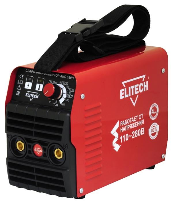 Сварочный аппарат Elitech АИС 160НСварочные аппараты<br>ELITECH АИС 160Н - предназначен для сварки стали &amp;#40;углеродистой и нержавеющей&amp;#41; на постоянном токе методом ручной дуговой сварки &amp;#40;ММА&amp;#41; штучным электродом с флюсовым покрытием, а также методом аргонно-дуговой сварки &amp;#40;TIG&amp;#41; неплавящимся фольфрамовым электродом в среде инертного защитного газа &amp;#40;аргона&amp;#41;.<br><br>- высокая производительность работы &amp;#40;80% на max токе&amp;#41; <br>- сварка электродом 4 мм <br>- ультракомпактный <br>- малый вес<br><br><br>Тип: сварочный инвертор<br>Сварочный ток (MMA): 10-160 А<br>Напряжение на входе: 110-275 В<br>Количество фаз питания: 1<br>Напряжение холостого хода: 74 В<br>Тип выходного тока: постоянный<br>Мощность, кВт: 4.70<br>Продолжительность включения при максимальном токе: 80 %<br>Диаметр электрода: 1.60-4 мм<br>Класс изоляции: Н