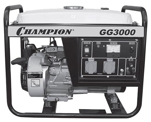 Электрогенератор Champion GG3000Электрогенераторы<br><br><br>Тип электростанции: бензиновая<br>Тип запуска: ручной<br>Число фаз: 1 (220 вольт)<br>Объем двигателя: 196 куб.см<br>Мощность двигателя: 4.62 л.с.<br>Тип охлаждения: воздушное<br>Объем бака: 15 л<br>Активная мощность, Вт: 2300<br>Защита от перегрузок: есть<br>Описание: вольтметр