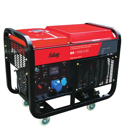 Электрогенератор FUBAG DS 11000 A ESЭлектрогенераторы<br>Мощная электростанция с электростартером и двухцилиндровым эффективным дизельным двигателем, рассчитана на длительную работу без дозаправки. Подходит для обеспечения электроснабжения на производстве, стройплощадке или в качестве надежного резервного источника электроснабжения загородного дома.<br><br>Преимущества<br>- профессиональный OHV-двигатель FUBAG;<br>- цифровой дисплей;<br>- возможность подключения блока автоматики;<br>- электростартер;<br>- легкий запуск при отрицательных температурах за счет системы подогрева воздуха во впускном коллекторе;<br>- система...<br><br>Тип электростанции: дизельная<br>Тип запуска: ручной, электрический<br>Число фаз: 1 (220 вольт)<br>Тип охлаждения: жидкостное<br>Объем бака: 25 л<br>Класс защиты генератора: IP23<br>Активная мощность, Вт: 10000<br>Защита от перегрузок: есть<br>Описание: клеммы для подключения мощных 1-фазных потребителей; возможность подключения блока автоматики