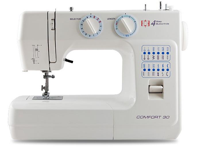 Швейная машина Comfort 30Швейные машины<br><br><br>Тип: электромеханическая<br>Тип челнока: вертикальный (ротационный)<br>Вышивальный блок: нет<br>Количество швейных операций: 24<br>Выполнение петли: полуавтомат<br>Оверлочная строчка : есть<br>Потайная строчка : есть<br>Эластичная строчка : есть<br>Эластичная потайная строчка: есть<br>Кнопка реверса: есть