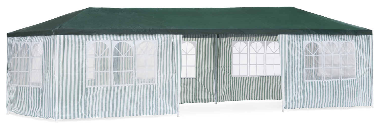 Садовый тент-шатер Green Glade 1070Садовые тенты и шатры<br>Садовый тент шатер Green Glade 1070 - огромный шатер площадью 27 кв.м. в котором с легкостью разместится большая компания.<br><br>Тент-шатер с восемью стенками с прозрачными окнами. Для проведения праздничного мероприятия в солнечную погоду, для защиты от солнца большой компании.<br><br>Тип: Садовый тент-шатер<br>Покрытие: полиэстер 140 г<br>Каркас: металлическая трубка (31х25х24 мм)<br>Размеры упаковки: 125х25х28 см