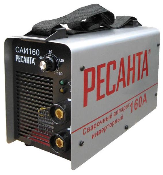 Сварочный аппарат Ресанта САИ 160Сварочные аппараты<br><br><br>Тип: сварочный инвертор<br>Сварочный ток (MMA): 10-160 А<br>Напряжение на входе: 140-260 В<br>Количество фаз питания: 1<br>Напряжение холостого хода: 80 В<br>Тип выходного тока: постоянный<br>Продолжительность включения при максимальном токе: 70 %<br>Диаметр электрода: 4 мм<br>Антиприлипание: есть<br>Горячий старт: есть