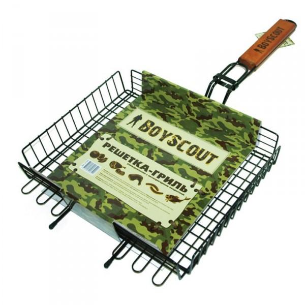 Решетка-гриль BoyScout 61303Мангалы, барбекю, гриль<br>Решетка-гриль BOYSCOUT 61303 обязательно Вам понадобится на пикниках, ведь она такая удобная и хорошего качества. Решетка с антипригарным покрытием не позволит Вашему мясу пригореть и Ваши блюда всегда будут отменными. Решетка изготовлена из безопасных продуктов, что очень немаловажно.<br><br>Тип: Решетка для гриля<br>Материал корпуса: сталь