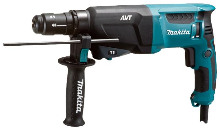 Перфоратор Makita HR2611FT(X5)Перфораторы<br><br><br>Тип крепления бура: SDS-Plus<br>Количество скоростей работы: 1<br>Потребляемая мощность: 800 Вт<br>Макс. энергия удара: 2.9 Дж<br>Макс. диаметр сверления (дерево): 32 мм<br>Макс. диаметр сверления (металл): 13 мм<br>Макс. диаметр сверления (бетон): 26 мм<br>Питание: от сети<br>Шуруповерт: есть<br>Возможности: реверс, предохранительная муфта, антивибрационная система, фиксация шпинделя, электронная регулировка частоты вращения