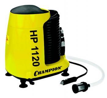 Мойка высокого давления Champion HP1120Мойки высокого давления<br><br><br>Давление, Бар: 11<br>Производительность, л/час: 210<br>Потребляемая мощность: 120 Вт<br>Напряжение сети: 12 В<br>Насадки: моющая щетка.Вращающаяся щетка