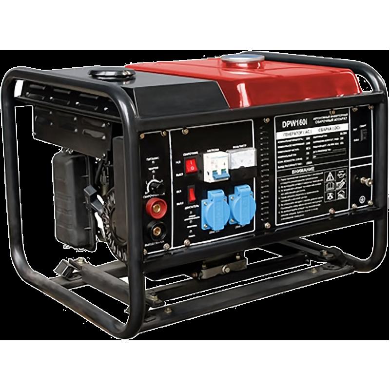 Электрогенератор DDE DPW160iЭлектрогенераторы<br><br><br>Тип электростанции: бензиновая, инверторная, сварочная<br>Тип запуска: ручной<br>Число фаз: 1 (220 вольт)<br>Тип охлаждения: воздушное<br>Объем бака: 12 л<br>Активная мощность, Вт: 3000<br>Защита от перегрузок: есть