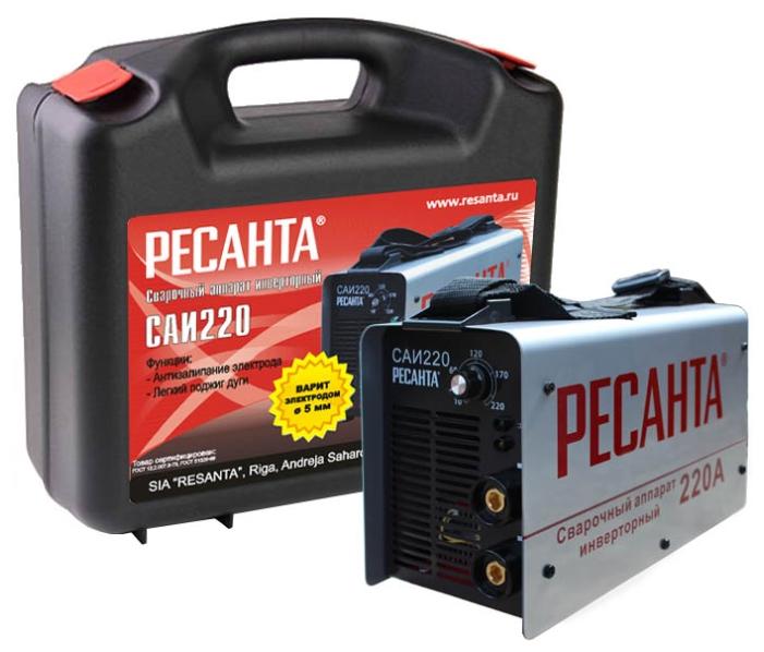 Сварочный аппарат Ресанта САИ 220 кейсСварочные аппараты<br><br><br>Тип: сварочный инвертор<br>Сварочный ток (MMA): 10-220 А<br>Напряжение на входе: 140-260 В<br>Количество фаз питания: 1<br>Напряжение холостого хода: 80 В<br>Тип выходного тока: постоянный<br>Продолжительность включения при максимальном токе: 70 %<br>Диаметр электрода: 5 мм<br>Антиприлипание: есть<br>Горячий старт: есть