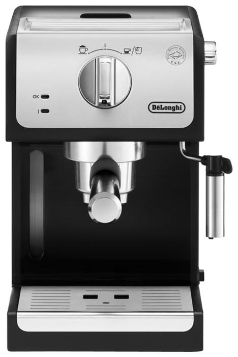 Кофемашина Delonghi ECP 33.21Кофеварки и кофемашины<br>Такая кофеварка эспрессо, несомненно, станет лучшим подарком для ценителей по-настоящему качественного кофе. DELONGHI ECP33.21 приготовит бодрящий и ароматный напиток путем пропускания горячей воды через слой молотых кофейных зерен или капсул под давлением 15 бар. <br><br>Модель оснащена съемным резервуаром для воды объемом 1 литр. Благодаря этой эспресс-машине вы сможете встречать своё утро за чашкой крепкого эспрессо или американо, предварительно разбавив полученный напиток горячей водой. Кроме того, наличие капучинатора позволит создавать воздушную...<br><br>Тип используемого кофе: Молотый\Чалды<br>Мощность, Вт: 1100<br>Объем, л: 1<br>Давление помпы, бар  : 15<br>Материал корпуса  : Пластик<br>Материал рожка  : Металл<br>Одновременное приготовление двух чашек  : Есть<br>Подогрев чашек  : Есть<br>Съемный лоток для сбора капель  : Есть