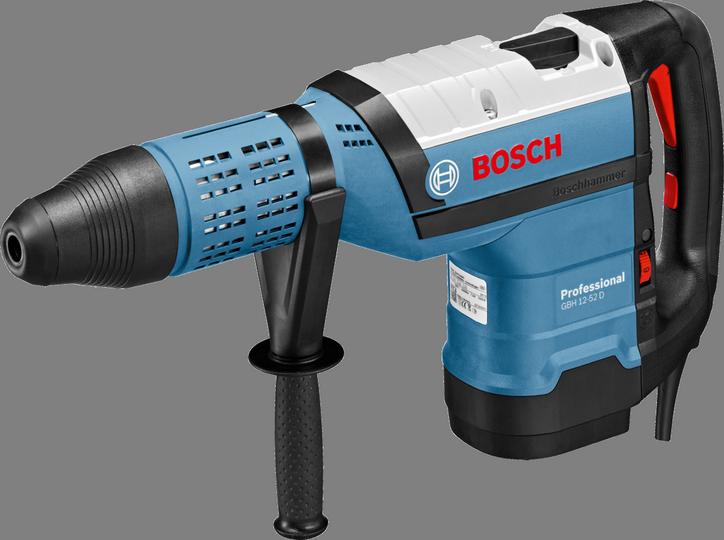 Перфоратор Bosch GBH 12-52 D [0611266100]Перфораторы<br><br><br>Тип крепления бура: SDS-Max<br>Количество скоростей работы: 1<br>Потребляемая мощность: 1700 Вт<br>Макс. энергия удара: 19 Дж<br>Макс. диаметр сверления (бетон): 52 мм<br>Макс. диаметр сверления (полой коронкой): 150 мм<br>Питание: от сети<br>Возможности: предохранительная муфта, электронная регулировка частоты вращения, индикатор износа угольных щеток