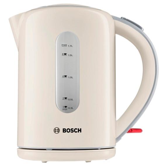 Электрочайник Bosch TWK 7607Чайники и термопоты<br><br><br>Тип   : Электрочайник<br>Объем, л  : 1.7<br>Мощность, Вт  : 3000<br>Тип нагревательного элемента: Закрытая спираль<br>Покрытие нагревательного элемента  : Нержавеющая сталь<br>Материал корпуса  : пластик<br>Индикация включения  : Есть<br>Индикатор уровня воды  : Есть<br>Блокировка крышки  : Есть<br>Фильтр  : Есть