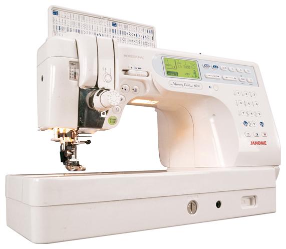 Швейная машина Janome Memory Craft 6600P (MC-6600P)Швейные машины<br><br><br>Тип: электронная<br>Тип челнока: ротационный горизонтальный<br>Количество швейных операций: 152<br>Выполнение петли: автомат<br>Максимальная длина стежка: 5.0 мм<br>Максимальная ширина стежка: 7.0 мм<br>Оверлочная строчка : есть<br>Потайная строчка : есть<br>Эластичная строчка : есть<br>Эластичная потайная строчка: есть