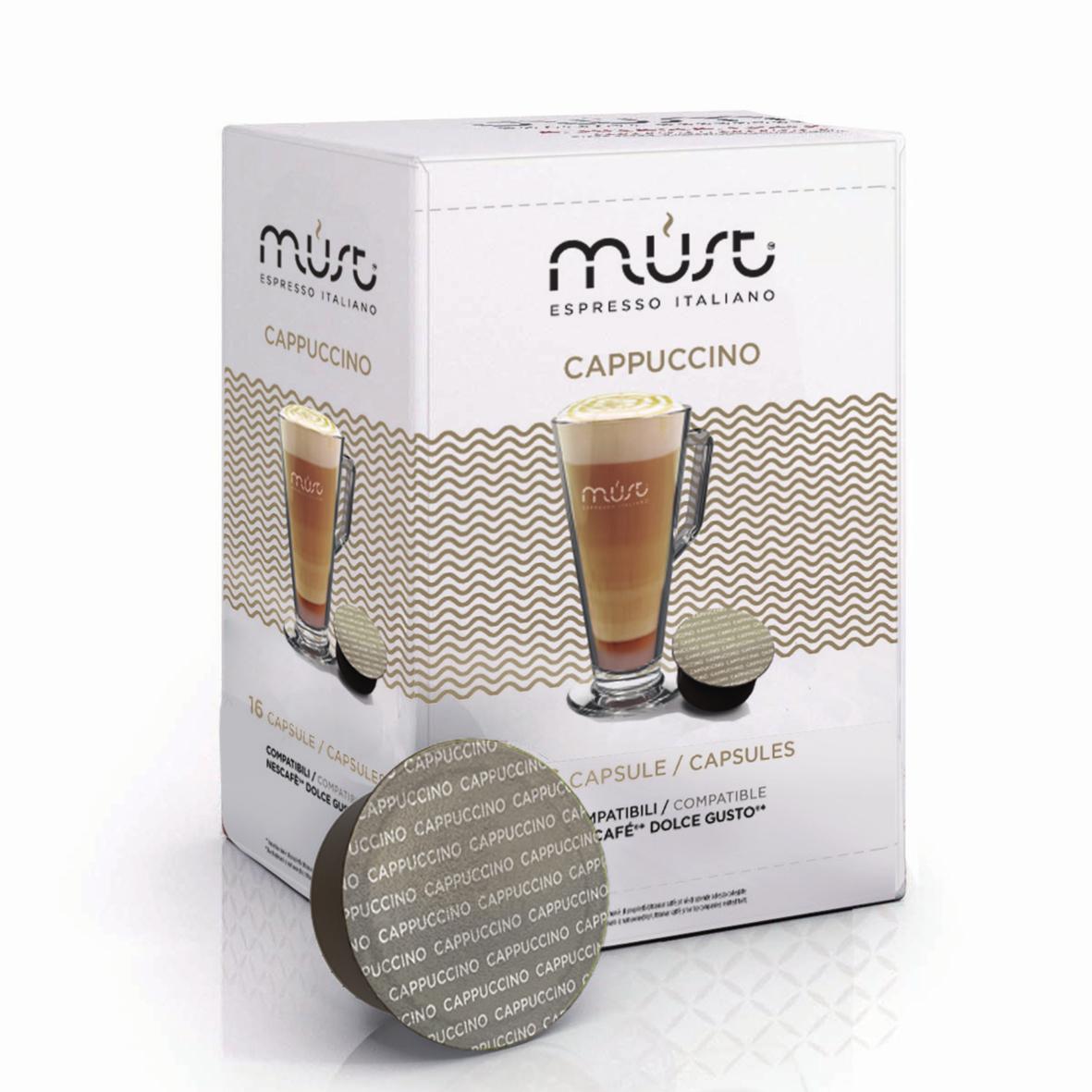 Кофе в капсулах MUST DG Cappucino 16шт Dolce GustoКофе, какао<br><br><br>Тип: кофе в капсулах<br>Дополнительно: Этот кофе имеет густую устойчивую пенку, мягкий и нежный вкус, приятный насыщенный аромат.