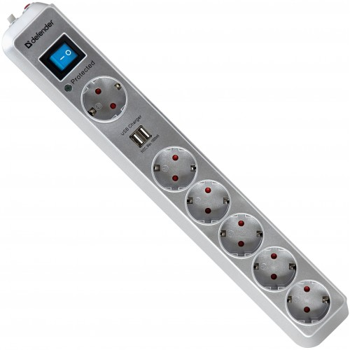 Сетевой фильтр DEFENDER DFS 501 2 мСетевые фильтры<br>Максимальная защита от больших скачков напряжения благодаря газовому разряднику.<br>Два USB-порта для удобной зарядки MP3-плееров и других гаджетов без использования ПК. Токовая защита надежно защищает подключенные устройства от возможных бросков тока и выхода из строя в момент зарядки.<br>6 розеток, одна из которых предназначена для подключения больших адаптеров.<br>Защитные шторки от детей. Сетевой фильтр безопасно использовать в квартире с маленькими детьми.<br>Корпус сделан из ударостойкого негорючего пластика ABS.<br>Высокий показатель максимальной...<br><br>Номинальное напряжение, В/Гц: 220 В / 50-60<br>Максимальная суммарная мощность нагрузки, Вт:: 2200<br>Максимальный ток нагрузки, А: 10<br>Индикатор состояния защиты:: есть<br>Фильтр ВЧ помех: есть<br>Защита от перегрузки и короткого замыкания: Отдельный автоматический несгораемый предохранитель<br>Длина шнура, м: 2.0