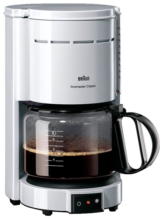 Кофемашина Braun KF 47/1 WhiteКофеварки и кофемашины<br><br><br>Тип используемого кофе: Молотый<br>Мощность, Вт: 1000<br>Материал корпуса  : Пластик<br>Плита автоподогрева: Есть<br>Съемный лоток для сбора капель  : Нет
