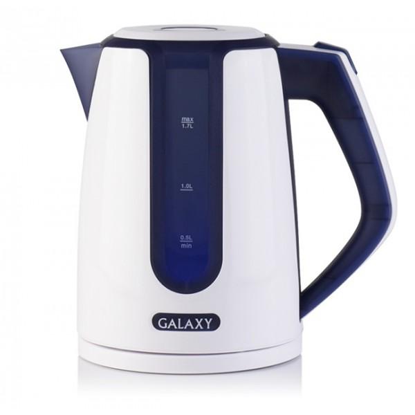 Электрочайник Galaxy GL 0207 BlueЧайники и термопоты<br><br><br>Тип   : Электрочайник<br>Объем, л  : 1.7<br>Мощность, Вт  : 2200<br>Тип нагревательного элемента: Закрытая спираль<br>Материал корпуса  : пластик<br>Подсветка  : Есть<br>Индикатор уровня воды  : Есть<br>Блокировка включения без воды  : Есть<br>Фильтр  : Есть