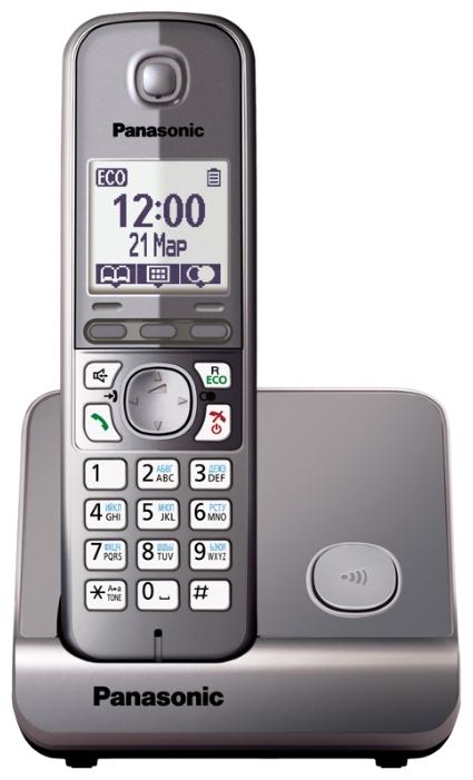 Радиотелефон Panasonic KX-TG6711RUMРадиотелефон Dect<br><br><br>Тип: Радиотелефон<br>Количество трубок: 1<br>Рабочая частота: 1880-1900 МГц<br>Стандарт: DECT/GAP<br>Радиус действия в помещении / на открытой местност: 50/300 м<br>Время работы трубки (режим разг. / режим ожид.): 15 / 170 ч<br>Полифонические мелодии: 40<br>Дисплей: на трубке (монохромный с подсветкой), 2 строки<br>Подсветка кнопок на трубке: Есть<br>Возможность настенного крепления: Есть