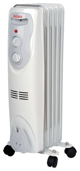 Масляный радиатор Ресанта ОМ-5НОбогреватели<br><br><br>Тип: масляный радиатор<br>Максимальная мощность обогрева: 1000 Вт<br>Количество секций: 5<br>Каминный эффект : есть<br>Управление: механическое<br>Регулировка температуры: есть<br>Термостат: есть<br>Выключатель со световым индикатором: есть<br>Напольная установка: есть<br>Отделение для шнура : есть