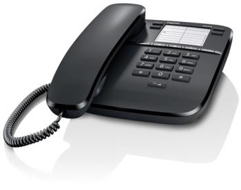 Проводной телефон Gigaset DA310 IM, черныйПроводные телефоны<br><br><br>Тип: проводной телефон<br>Наборное поле на базе: есть<br>Повторный набор номера: есть