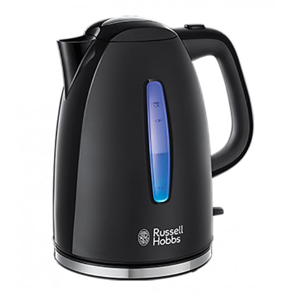 Электрочайник Russell Hobbs 22591-70 Textures Plus+Black KettleЧайники и термопоты<br>Новый чайник Textures Plus - оптимальное сочетание характеристик, дизайна и цены. Корпус черного цвета из комбинированного матового и глянцевого высококачественного пластика. Окошки уровня воды с голубой подсветкой во время кипячения. <br><br>Объем 1,7 литра достаточен для приготовления до 6 чашек чая, идеален для семейных вечеров. С другой стороны, зоны быстрого кипячения в чайнике позволяют сэкономить время и электроэнергию при кипячении воды на 1-3 чашки. Удобство таких зон быстрого кипячения в том, что чашка кипятка будет готова всего лишь за 50 секунд...<br><br>Тип   : Электрочайник<br>Объем, л  : 1.7<br>Мощность, Вт  : 2400<br>Тип нагревательного элемента: Закрытая спираль<br>Материал корпуса  : пластик<br>Вращение на 360 градусов  : Есть<br>Подсветка  : Есть<br>Индикация включения  : Есть<br>Индикатор уровня воды  : Есть<br>Блокировка крышки  : Есть