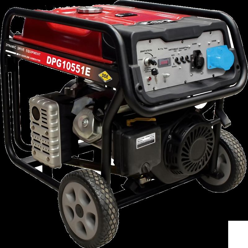 Электрогенератор DDE DPG10551EЭлектрогенераторы<br><br><br>Тип электростанции: бензиновая<br>Тип запуска: ручной, электрический<br>Число фаз: 1 (220 вольт)<br>Объем двигателя: 460 куб.см<br>Мощность двигателя: 16 л.с.<br>Тип охлаждения: воздушное<br>Расход топлива: 3.1 л/ч<br>Объем бака: 25 л<br>Тип генератора: синхронный<br>Класс защиты генератора: IP23