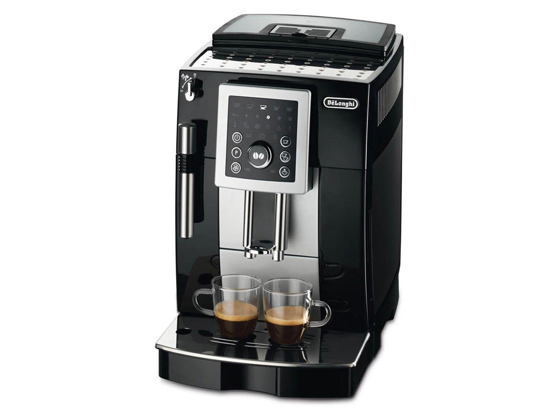 Кофемашина Delonghi ECAM 23.210.BКофеварки и кофемашины<br><br>- Cистема Cappuccino для приготовления капучино.<br><br><br>- Запатентованная система CRF (компактность, надежность, свежесть) – всегда только свежий и ароматный кофе.<br><br><br>- Съемный центральный блок приготовления – большая долговечность и простота эксплуатации.<br><br><br>- Новая встроенная бесшумная кофемолка с установками на 14 степеней помола.<br><br><br>- Уникальная система управления Easy Tronic – простота и удобство.<br><br><br>- Возможность индивидуальной настройки: уровня крепости от 6 до 14 г кофе на чашку, температуры напитка, количества воды.<br><br><br>- Регулируемый дозатор от 86 мм...<br><br>Тип : зерновая кофемашина<br>Тип используемого кофе: Зерновой\Молотый<br>Мощность, Вт: 1450<br>Объем, л: 1.8 л<br>Давление помпы, бар  : 15<br>Встроенная кофемолка: Есть<br>Емкость контейнера для зерен, г  : 250<br>Одновременное приготовление двух чашек  : Есть<br>Подогрев чашек  : Есть<br>Контейнер для отходов  : Есть