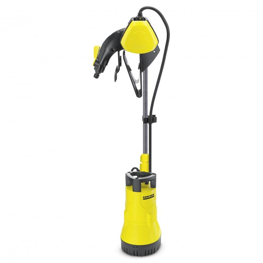 Насос Karcher BP 1 BarrelНасосы<br><br><br>Глубина погружения: 7 м<br>Максимальный напор: 11 м<br>Пропускная способность: 3.8 куб. м/час<br>Напряжение сети: 220/230 В<br>Потребляемая мощность: 400 Вт<br>Качество воды: чистая<br>Размер фильтруемых частиц: 1 мм<br>Установка насоса: вертикальная