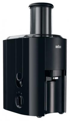 Соковыжималка Braun J 300Соковыжималки<br><br><br>Тип   : соковыжималка<br>Мощность, Вт.: 800 Вт<br>Резервуар для сока: 1,25 л<br>Система прямой подачи сока: Есть<br>Сбор мякоти: автоматический выброс мякоти, объем резервуара 2 л<br>Сепаратор для пены: Есть<br>Защитные функции: защита от случайного включения<br>Количество скоростей: 2<br>Размер горловины: 75 мм