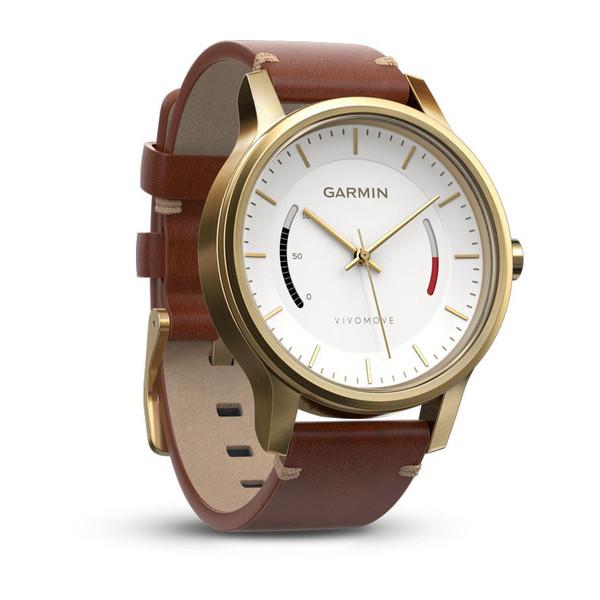 Умные часы Garmin Vivomove Premium Золотые с кожанным ремешком [010-01597-21]