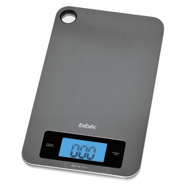 Кухонные весы BBK KS 152 M MetalВесы<br>Для тех, кто придерживается строгих диет, и для хозяек, любящих готовить и точно измерять вес ингредиентов, кухонные весы KS152M вещь необходимая.<br><br>Платформа цвета металлик, изготовлена из нержавеющей стали, для удобства хранения имеет петлю для подвешивания. ЖК-дисплей крупный, с подсветкой. Максимальный измеряемый вес 5 кг, точность измерения 1 г.<br><br>Существует выбор единиц измерения – граммы &amp;#40;«g»&amp;#41;, унция &amp;#40;«oz»&amp;#41;, фунты &amp;#40;«lb»&amp;#41;, килограммы &amp;#40;«kg»&amp;#41;. Доступна функция тарокомпенсации.<br><br>Тип: кухонные весы<br>Тип весов: электронные<br>Предел взвешивания, кг: 5<br>Точность измерения, г: 100