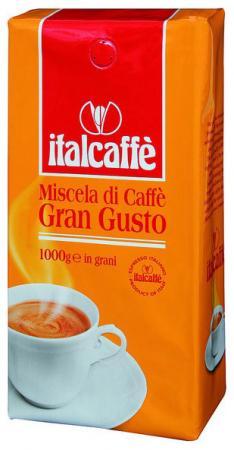 Кофе в зернах Italcaffe Gran Gusto 1 кгКофе, какао<br>Кофе ItalCaffe Gran Gusto для любителей крепкого и сильного традиционного вкуса кофе. Характерными особенностями его являются особая горчинка в послевкусии и крепкая пенка тёмно-коричневого цвета. Подходит смесь кофе ItalCaffe Gran Gusto также для приготовления в автоматических эспрессо-машинах.<br><br>Тип: кофе в зернах<br>Дополнительно: состав: 100% Арабика. Отличная комбинация отборных сортов кофе, полученная за счет тщательной дозировки Арабики и Робуста, что позволит Вам почувствовать бодрящий эспрессо. Крепкая,густая сбалансированная смесь. Прекрасно подходит для ценителей крепкого кофе.