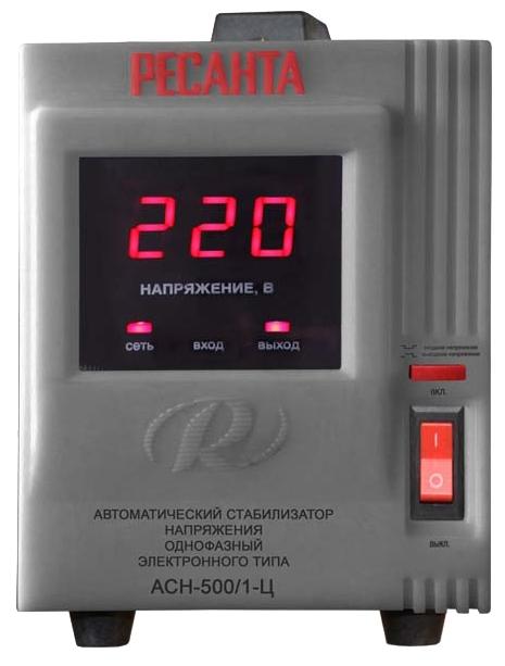 Стабилизатор напряжения Ресанта ACH-500/1-ЦСтабилизаторы напряжения<br>Однофазный стабилизатор напряжения Ресанта АСН 500/1-Ц используется для выравнивания входного напряжения и защиты приборов от высоких скачков напряжения с суммарной мощностью до 0.5 кВт. В стабилизаторе предусмотрена защита от перегрева и аварийное отключение нагрузки при превышении диапазона входного напряжения. Работой устройства управляет встроенный микропроцессор.<br><br>Тип: стабилизатор напряжения