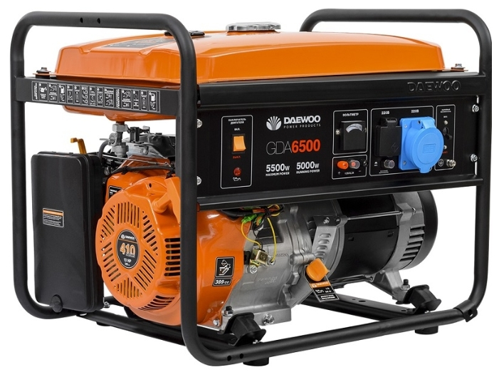 Электрогенератор Daewoo GDA 6500Электрогенераторы<br>- Профессиональный Двигатель DAEWOO<br>- Быстрый Запуск<br>- Вольтметр<br>- AVR &amp;#40;Automatic Voltage Regulator&amp;#41;<br>- Умная Защита от Перегрузок<br>- Датчик Уровня Масла<br>- Низкий Уровень Шума<br>- Прочная Рама<br>- Металический Топливный Бак<br>- Гарантия Daewoo<br>- Транспортный комплект<br>- 100% Медный альтернатор<br>- Встроенное зарядное устройство<br><br>Тип электростанции: бензиновая<br>Тип запуска: ручной<br>Число фаз: 1 (220 вольт)<br>Объем двигателя: 389 куб.см<br>Мощность двигателя: 13 л.с.<br>Тип охлаждения: воздушное<br>Объем бака: 25 л<br>Активная мощность, Вт: 5000<br>Защита от перегрузок: есть