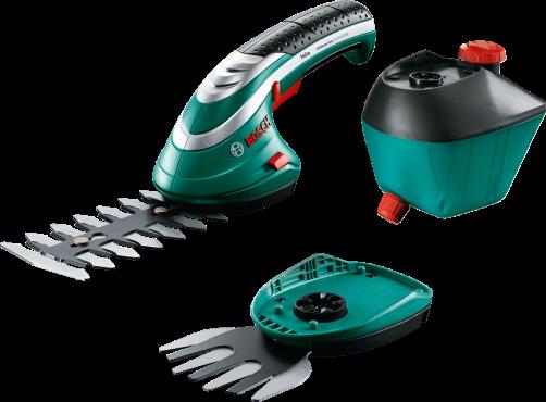 Кусторез Bosch ISIO 3 [060083310G]Кусторезы<br>Комплект поставки<br><br>зарядное устройство<br>Нож для травы Multi-Click 8 см &amp;#40;F 016 800 326&amp;#41;<br>Нож для кустореза Multi-Click 12 см &amp;#40;F 016 800 327&amp;#41;<br>Пульверизатор Multi-Click, 1 л &amp;#40;F 016 800 330&amp;#41;<br><br>Ваш незаменимый помощник в саду: многофункциональный Isio оптимально подходит для регулярных работ на садовом участке.<br><br>Потребительские преимущества<br>- Широкий набор функций: новые насадки Multi-click делают Isio еще универсальнее.<br>- Компактный и легкий: оптимальные форма, размер и вес для комфортной работы в саду.<br>- Надежность и высокая мощность: благодаря литиево-ионному аккумулятору и антиблокировочной...<br><br>Тип: кусторез<br>Тип двигателя: Электрический<br>Источник питания: аккумулятор<br>Длина шины дюйм/см: 12 см<br>Расстояние между ножами: 0,8 см<br>Описание: напряжение аккумулятора 3,6 В. Ёмкость аккумулятора 1,5 А*ч. Время работы аккумулятора до 50 мин. Время зарядки аккумулятора 3,5 h. Ширина ножа 8 см (трава)
