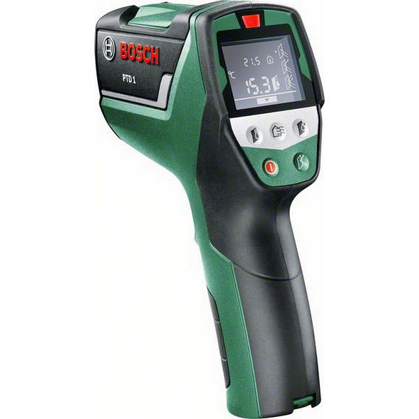 Термодетектор Bosch PTD 1 [0603683020]Измерительные инструменты<br>Экономия энергии и повышение качества жизни<br><br>Потребительские преимущества<br>- Простое измерение температуры поверхности, а также температуры и влажности в помещении<br>- Быстрое обнаружение «мостиков холода» и мест, где возможно появление плесени<br>- Легкость использования благодаря автоматической обработке результатов измерения<br><br>Дополнительные преимущества<br>- Простые кнопки и символы на дисплее<br>- Лазерная окружность обозначает диапазон измерения<br>- Интуитивно понятное управление – принцип светофора – с 3-цветной светодиодной индикацией<br>- Дисплей...<br><br>Тип: Термодетектор<br>Аккумулятор: 2 x 1,5-В-LR6 (AA)<br>Описание: оптика 10:01