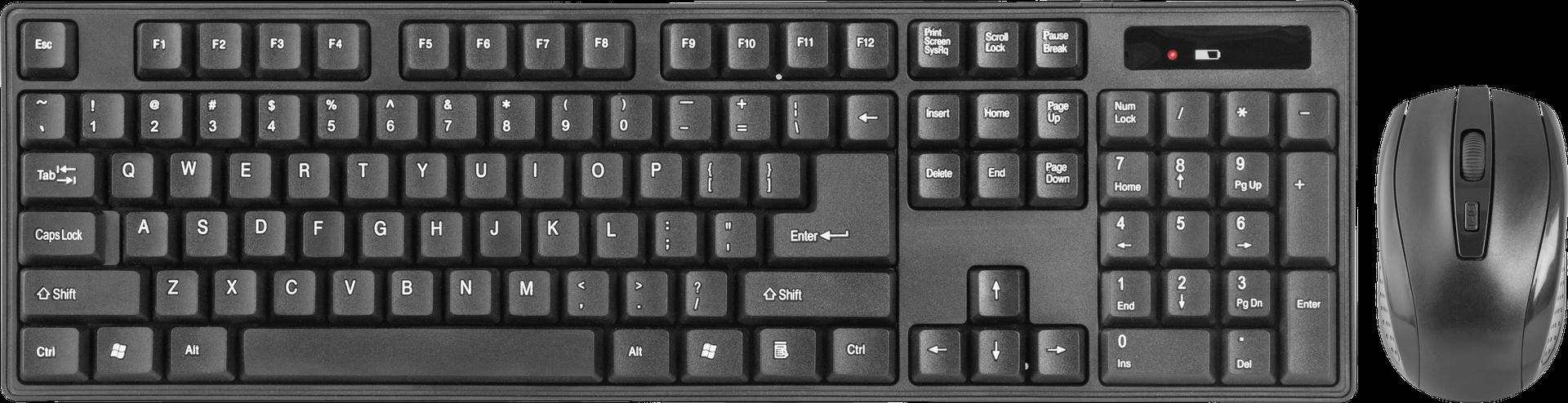 Клавиатура и мышь Defender C-915 RU Black USBНаборы клавиатура + мышь<br><br><br>Тип: клавиатура и мышь<br>Назначение: настольный компьютер<br>Тип беспроводной связи: радиоканал<br>Радиус действия беспроводной связи, м: 10<br>Интерфейс подключения: USB<br>Трекбол: нет<br>Конструкция: классическая<br>Цифровой блок: есть<br>Тип клавиатуры: мембранная<br>Беспроводная связь: есть