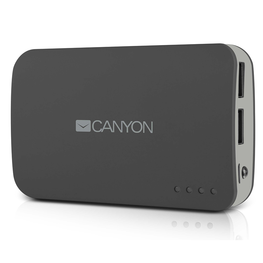 Универсальный внешний аккумулятор Canyon CNE-CPB78 Dark GreyУниверсальные внешние аккумуляторы<br><br><br>Тип: внешний аккумулятор<br>Емкость, mAh: 7800<br>Одновременная зарядка двух устройств: есть<br>Входящее напряжение: 5 В<br>Входящий ток: 1 А<br>Входящие разъемы: USBx2<br>Максимальный ток на USB 1: 1 А<br>Максимальный ток на USB 2: 2 А
